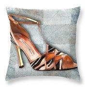 Strappy Striped Sandal Throw Pillow