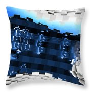 Abstract Guitar In Blue Throw Pillow