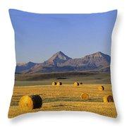 Straw Bales, Pincher Creek, Alberta Throw Pillow