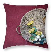 Straw Basket With Flowers Throw Pillow