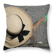 Straw Hat And Green Shoes Throw Pillow