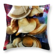 Straw Hats Throw Pillow
