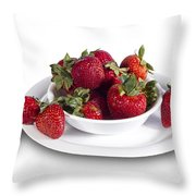 Strawberries In A White Bowl No.0029v1 Throw Pillow