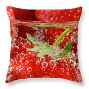 Strawberries In Water Close Up Throw Pillow