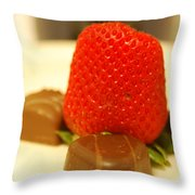 Strawberry And Chocolate Throw Pillow