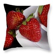 Strawberry Arrangement With A White Bowl No.0036 Throw Pillow