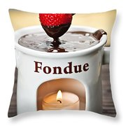 Strawberry Dipped In Chocolate Fondue Throw Pillow by Elena Elisseeva