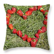 Strawberry Heart Throw Pillow