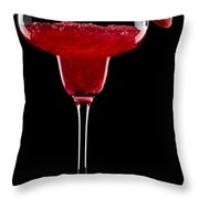 Strawberry Margarita In Front Of A Black Background Throw Pillow