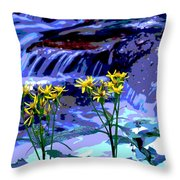 Stream And Flowers Throw Pillow