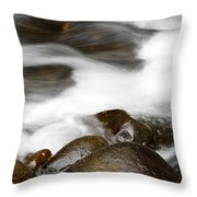 Stream Flowing Over Rocks Throw Pillow