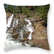 Streaming Glen Alpine Falls Throw Pillow