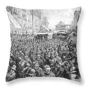 Street Car Strike, 1886 Throw Pillow