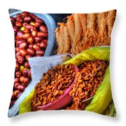 Street Food Snacks In Seoul Throw Pillow