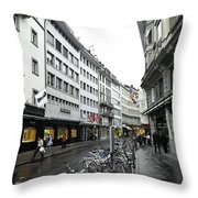 Street In Lucerne With Cycles And Rain Throw Pillow