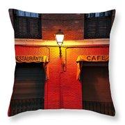 Street Lamp Cafe Throw Pillow