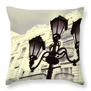 Street Lamps Of Budapest Hungary Throw Pillow