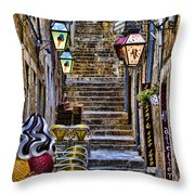 Street Lane In Dubrovnik Croatia Throw Pillow