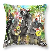 Street Musicians In Cyprus Throw Pillow