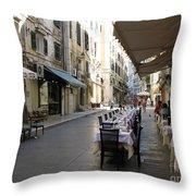 Street Restaurant Throw Pillow