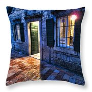 Street Scene In Ancient Kotor Montenegro Throw Pillow by David Smith