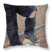 Street Soccer - Torn Trousers And Ball Throw Pillow