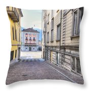 Street With Houses Throw Pillow