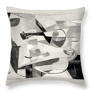Stringed Instrument On Table Throw Pillow