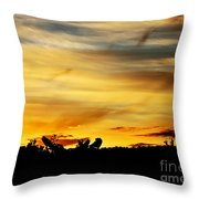 Stripey Sunset Silhouette Throw Pillow
