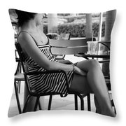 Stripped Dress Lady Throw Pillow