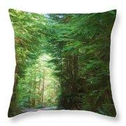 Stroll Through The Quinault Rain Forest Throw Pillow
