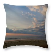 Strolling At Sunrise On The Shore Of Maine Throw Pillow