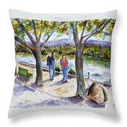 Strolling Virginia Lake Throw Pillow