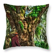Strolling With Giants Painted Throw Pillow