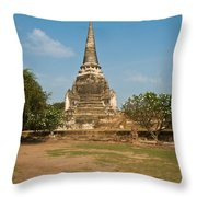 Stupa Chedi Of A Wat In Thailand Throw Pillow