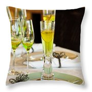 Stylish Dining Table Arrangement Throw Pillow