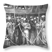 Submarine Divers, 1869 Throw Pillow