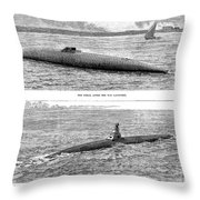 Submarine Launch, 1890 Throw Pillow