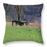 Subsoiler On The Farm  Throw Pillow