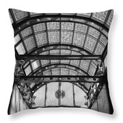 Subway Glass Station In Black And White Throw Pillow