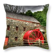 Sudbury - Storm Looms At The Grist Mill Throw Pillow