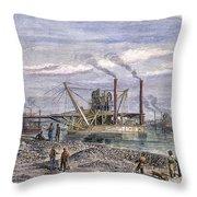 Suez Canal Construction Throw Pillow