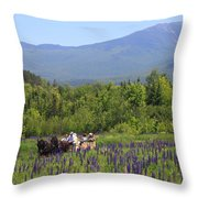Sugar Hill Horse Tour And Lupines Throw Pillow