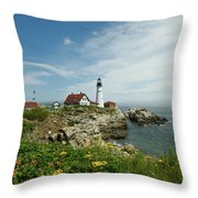 Summer At Portland Head Light Throw Pillow