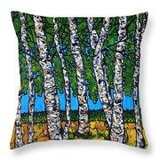 Summer Birches Throw Pillow