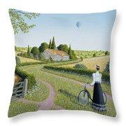 Summer Cycling Throw Pillow by Peter Szumowski