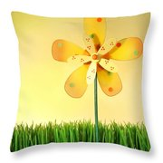 Summer Fun In The Grass Throw Pillow by Sandra Cunningham