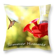 Summer Hummer Poster Throw Pillow