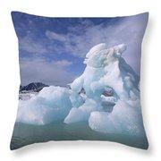 Summer Icebergs, Spitsbergen Island Throw Pillow