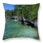 Summer Morning At Cave Point Throw Pillow
